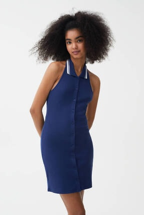 Pull & Bear Kadın Lacivert Fitilli Yaka Polo Elbise