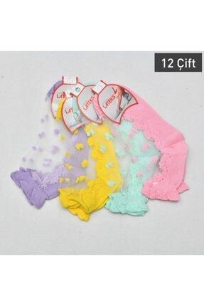 Lateks Çorap Kadın Desenli Transparan Patik Çorabı 12li