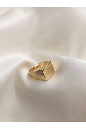 The Y Jewelry Gold Kare Şövalye Ayarlanabilir Yüzük