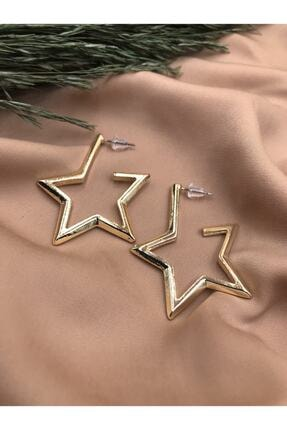 Eylülün Takısı Gold Renkli Yıldız Model Vintage Küpe