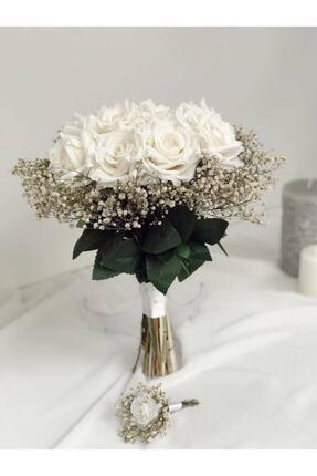 Almila Store Cipsolu Beyaz Gül Gelin Buketi Ve Damat Yaka Çiçeği