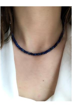 Serline Desing Kadın Lacivert Patentli Lapis Lazuli Doğaltaşlı Gümüş Kolye 925 Ayar