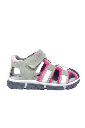 Toddler 2907-1 Ortopedik Hakiki Deri Kız Çocuk Gri Sandalet