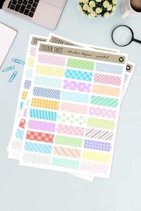 Funbou Şekilli Sticker Bant, Pastel / 2 Sayfa