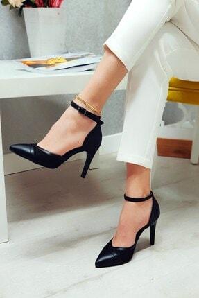esteriva Kadın Siyah Tül Parçalı Stiletto Ayakkabı 133032