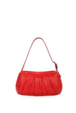 CENGİZ PAKEL Benita Pileli Kadın Omuz Çantası 7305-kırmızı