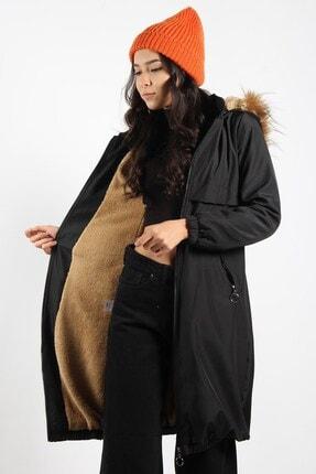 Mckanzie Kadın Siyah 5087 Içi Kürklü Kapüşonlu Tüylü Uzun Mont
