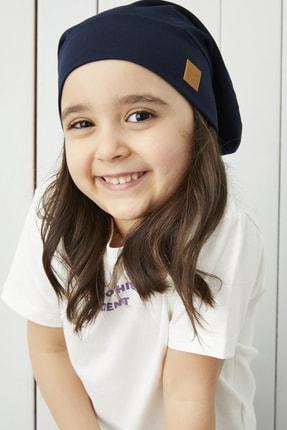 Babygiz Kız Çocuk Lacivert Ip Detaylı 4 Mevsim Şapka Bere Buff -yumuşak Doğal Penye