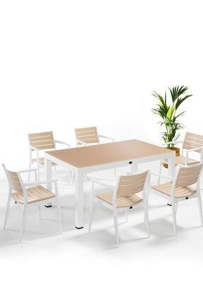 Novussi Regnum Beyaz - Fildişi 6'lı Set - Bahçe Masa Sandalye Takımı Luxury Concept Iç / Dış Mekan