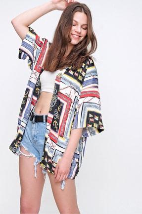 Trend Alaçatı Stili Kadın Mix Desenli Kimono ALC-X6258