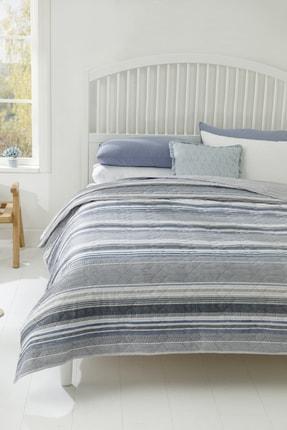 English Home Timeless Stripe Çift Kişilik Çok Amaçlı Örtü 200x220 Cm Mavi