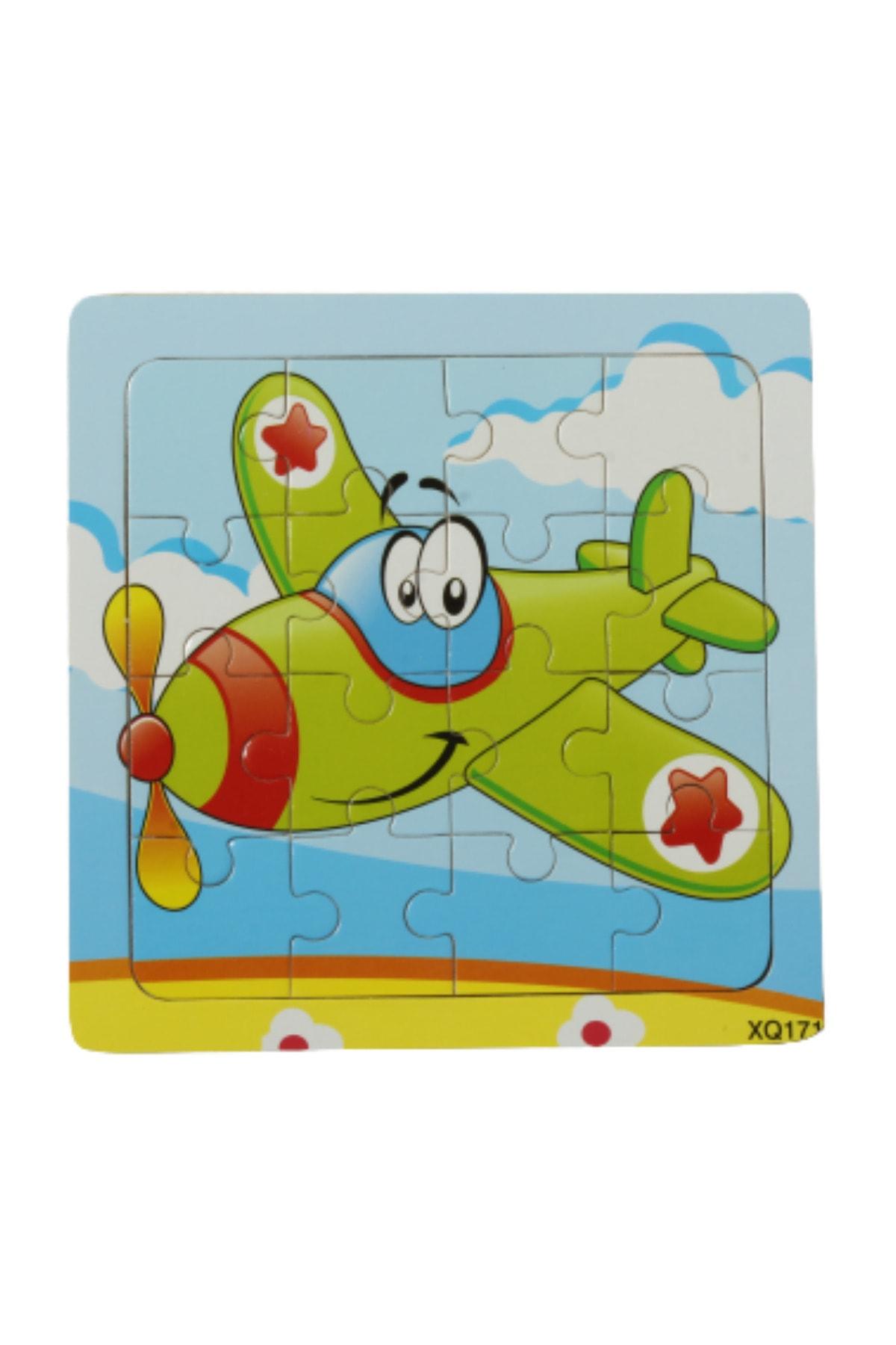 modapratik kids Ahşap Yapboz 16 Parça 15x15cm Uçak 1