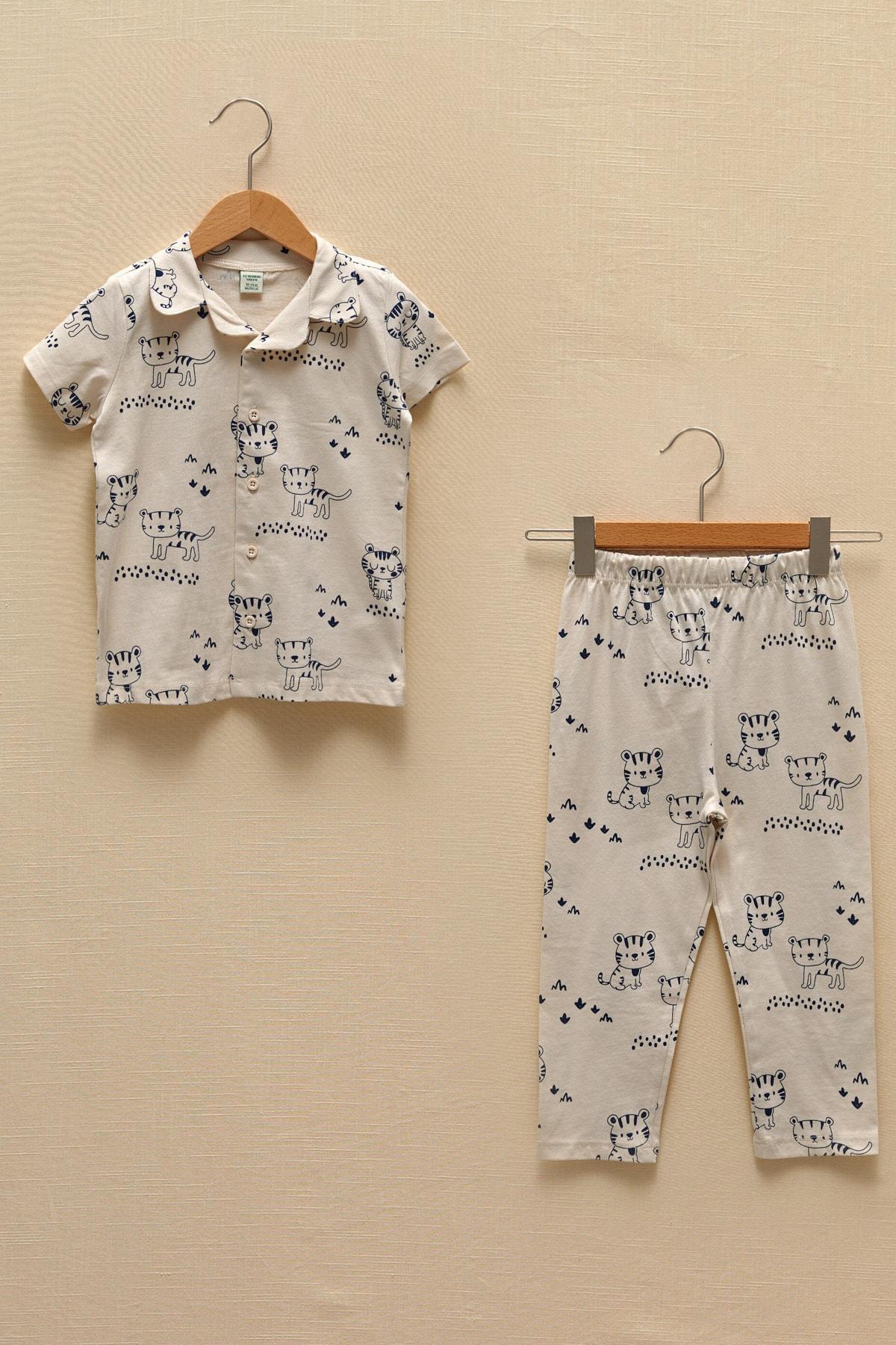 LC Waikiki Erkek Bebek Ekru Baskılı Lra Pijama Takımı 1