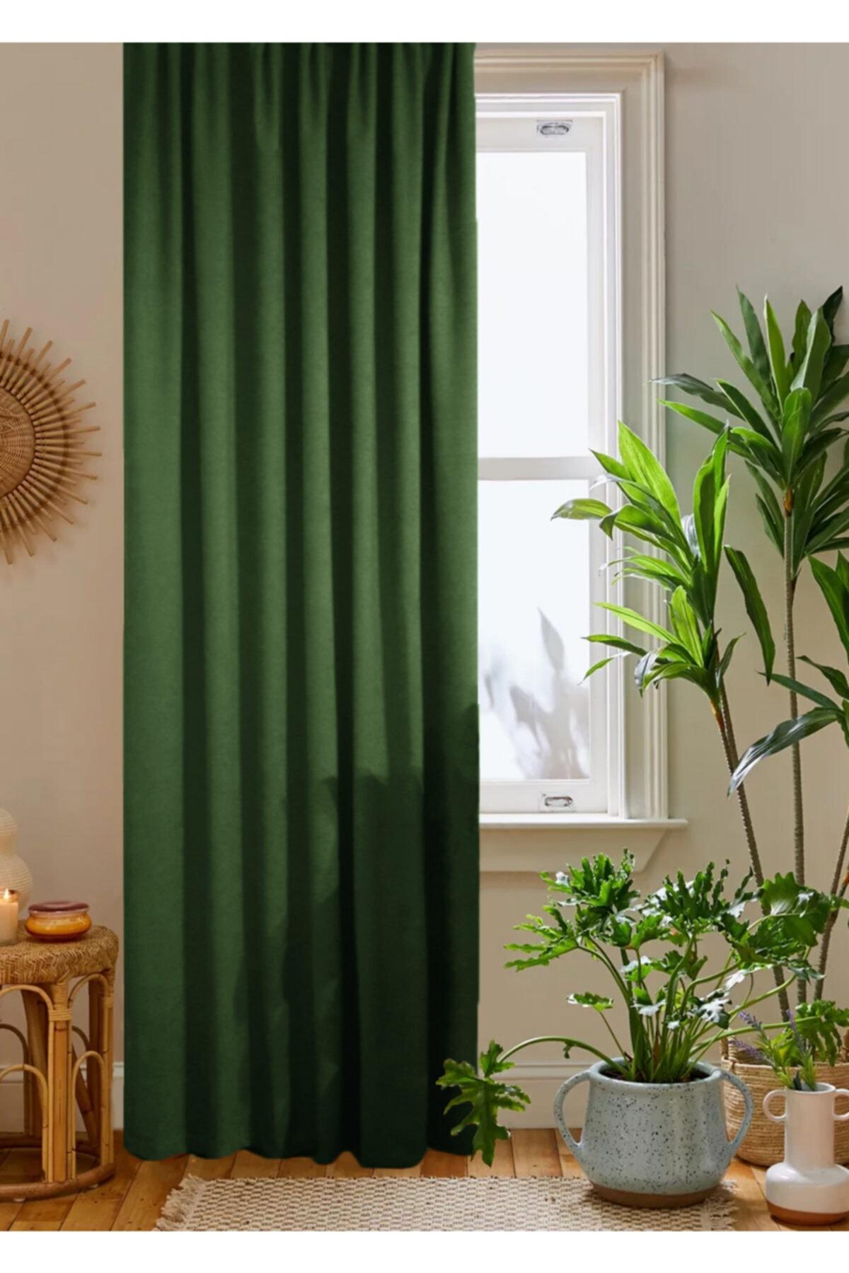 home color  home Yeşil Petek Kadife Dokulu Fon Perde 140x260 Düz Dikişli Ekstrafor Büzgü 1