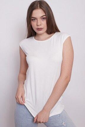 Jument Kadın Krem Geniş Sıfır Yaka Düşük Omuzlu Penye Likralı Kolsuz Bluz