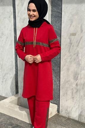 TAYHAN Kadın Kırmızı Sim Şeritli Eşofman Takımı