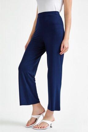 İKİLER Kadın Lacivert Beli Lastikli Boru Paça Pantolon 021-2003