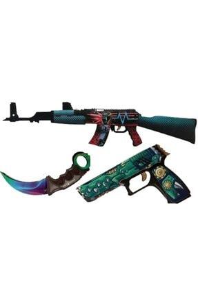 Hediyenealsak Ahşap Cs-go Ak-47 Tüfek P250 Tabanca Karambit Oyuncak Set 4003