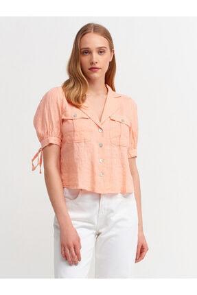 Dilvin Kadın Somon Ceket Yakalı Gömlek