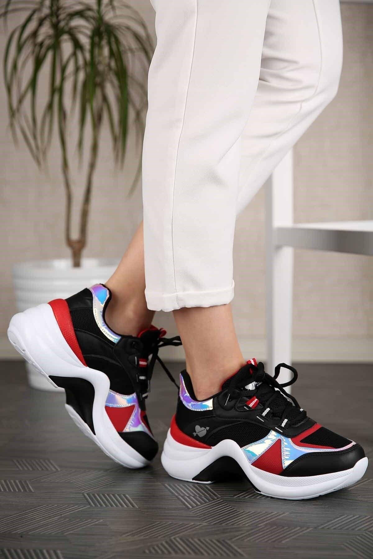 Twingo Kadın Siyah Kırmızı Sneaker 2