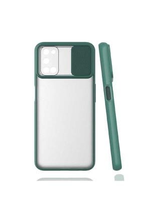 OPPO A72 Uyumlu Kaydırmalı Kamera Korumalı Pastel Renkler Koyu Yeşil
