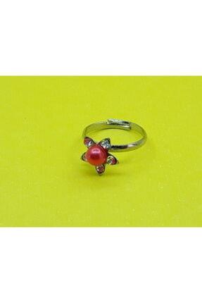 Trend Dünyası Trenddünyası Kırmızı Taşlı Çiçekli Kız Çocuk Yüzüğü