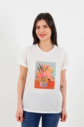 Fashion Friends Kadın T-shirt Ekru