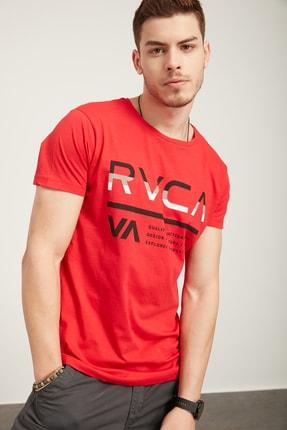 TENA MODA Erkek Kırmızı Bisiklet Yaka Rvca Baskı Tişört