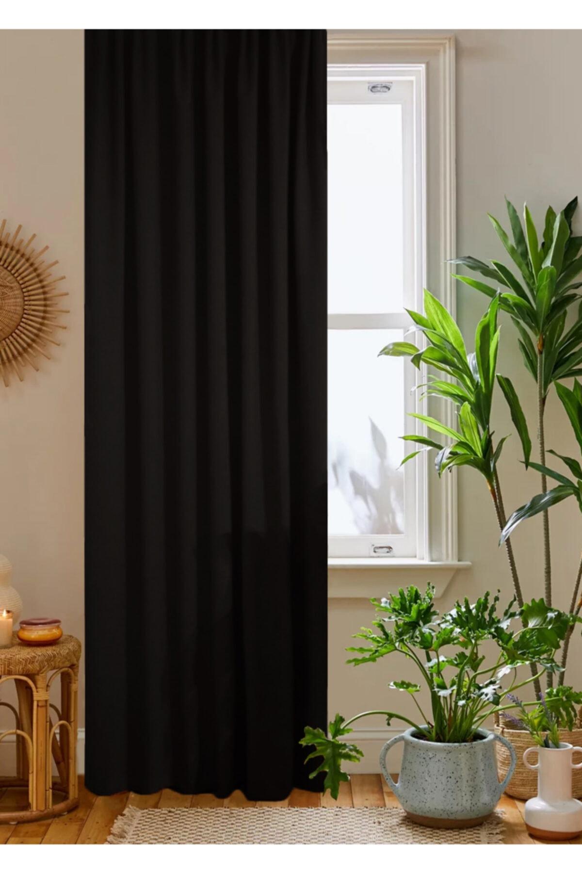 home color  home Siyah Petek Kadife Dokulu Fon Perde 140x260 Düz Dikişli Ekstrafor Büzgü 1