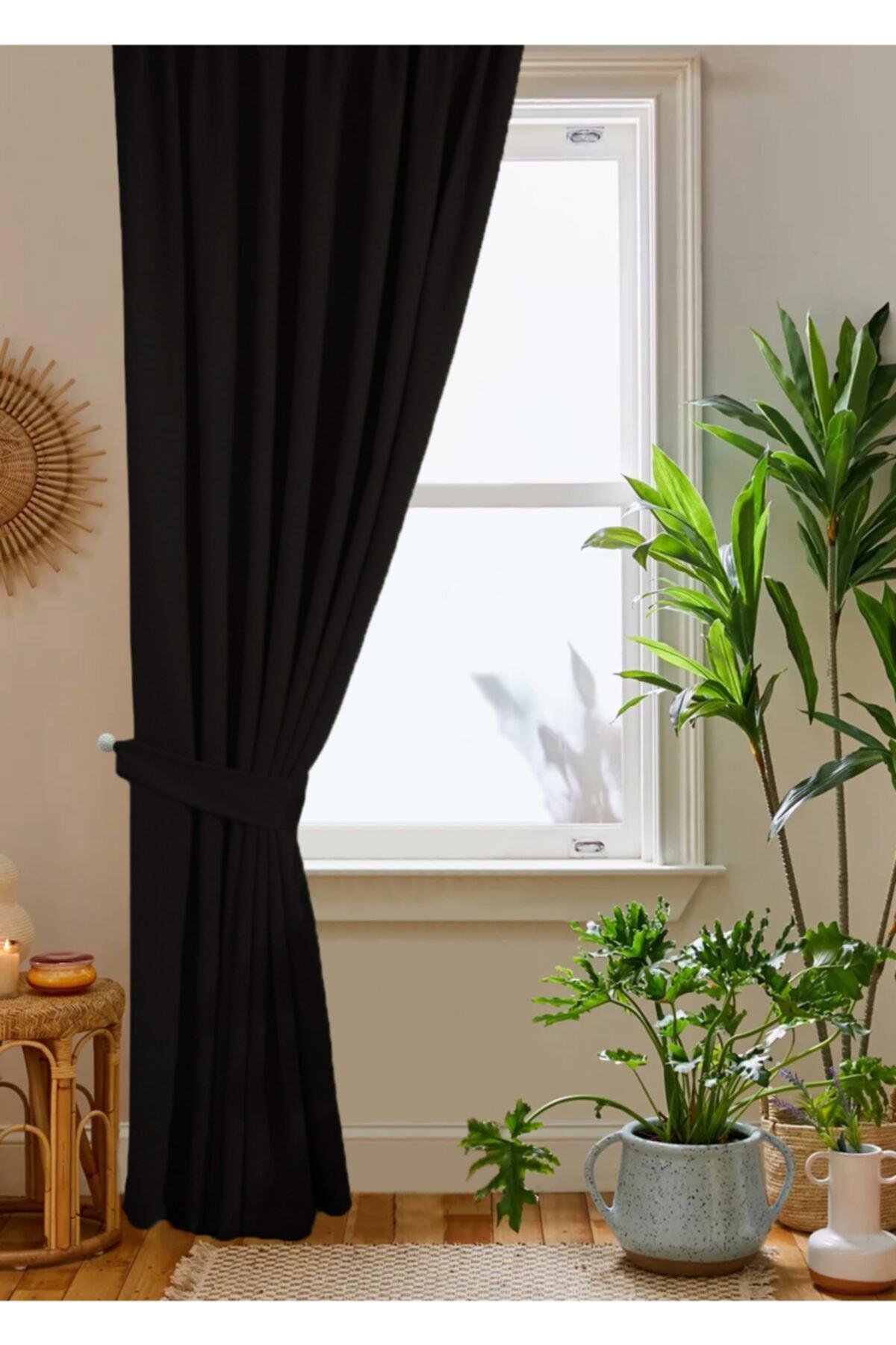 home color  home Siyah Petek Kadife Dokulu Fon Perde 140x260 Düz Dikişli Ekstrafor Büzgü 2