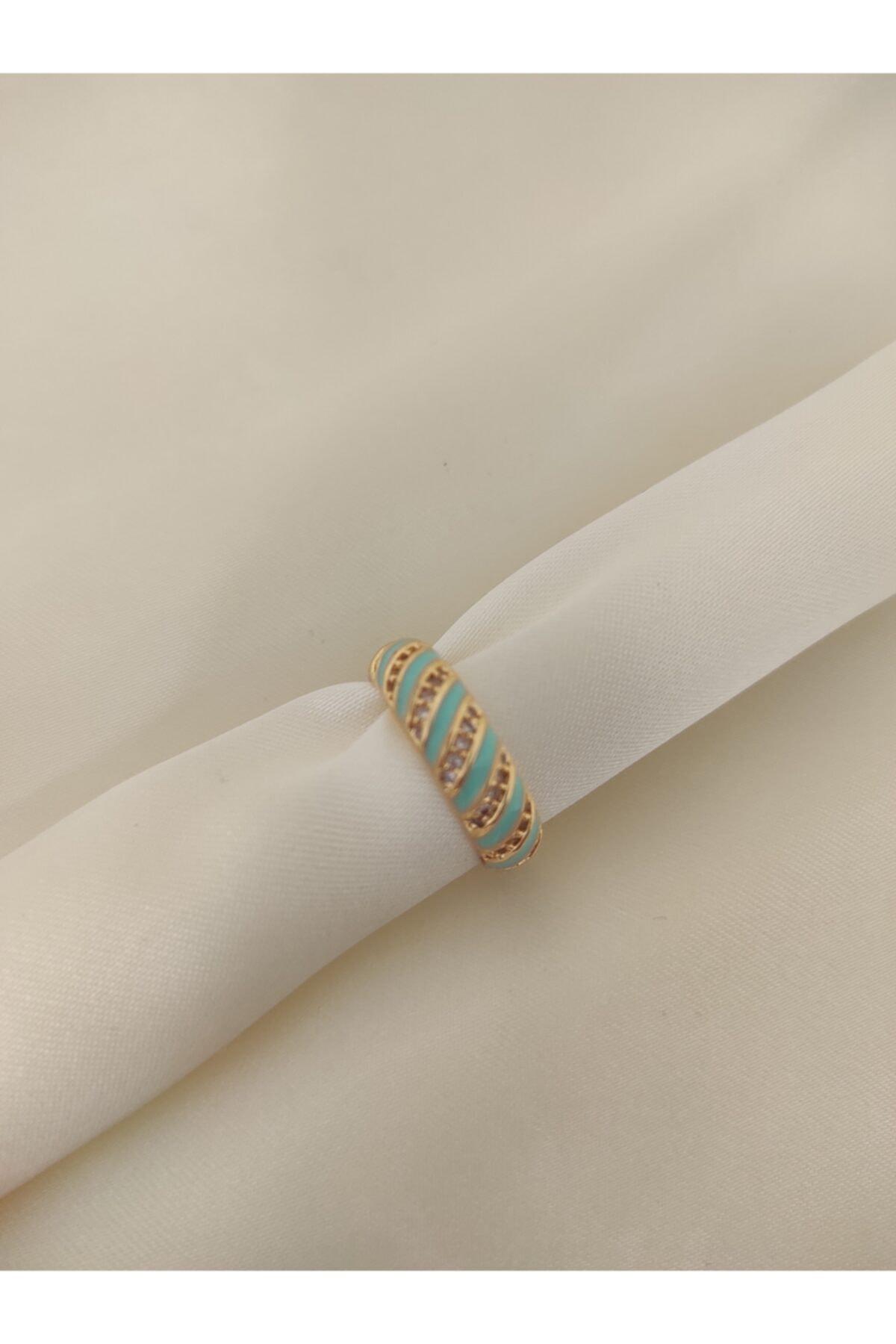 beige accessory Açık Mavi Rengi Yüzük Pırlanta Işlemeli Gold Metal Ayarlanabilir Beden 1