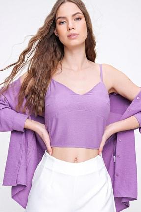 Trend Alaçatı Stili Kadın Lila İp Askılı İçi Süngerli Aerobin Bluz ALC-X6209