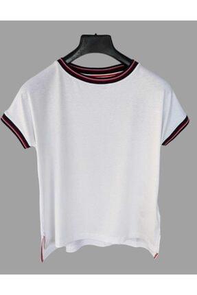 Tommy Hilfiger Yakası Çizgili Kadın Tshirt