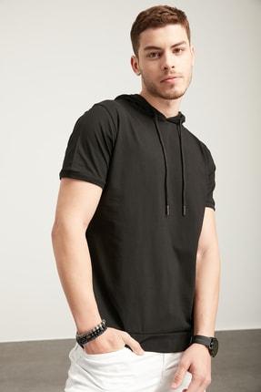 TENA MODA Erkek Siyah Kapşonlu Etek Bantlı Tişört
