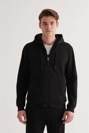 Avva Erkek Siyah Fermuarlı Kapüşonlu Yaka Düz Sweatshirt E001009