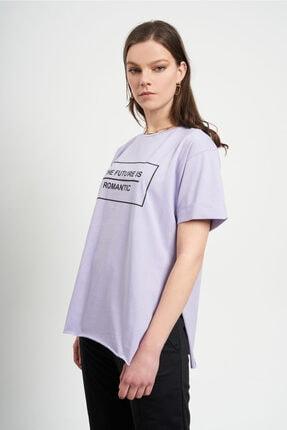 TENA MODA Kadın Lila The Future Yazılı  T-Shirt