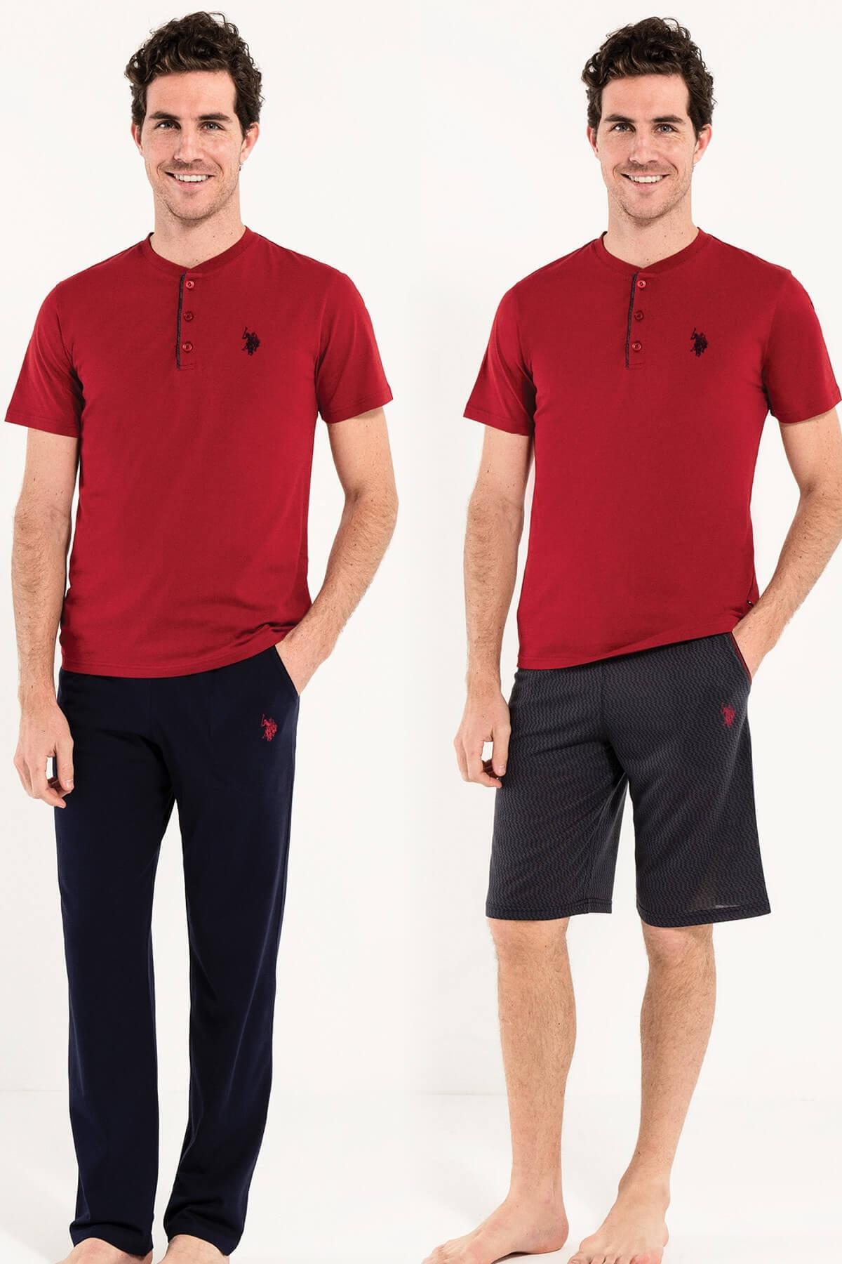 U.S. Polo Assn. Erkek Bordo Kısa Kollu Pijama ve  Şort 1