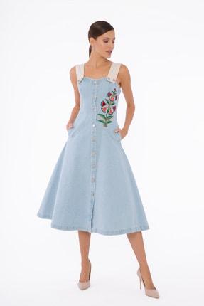 GİZİA Kadın Mavi Askılı İşlemeli Jean Elbise M5d206
