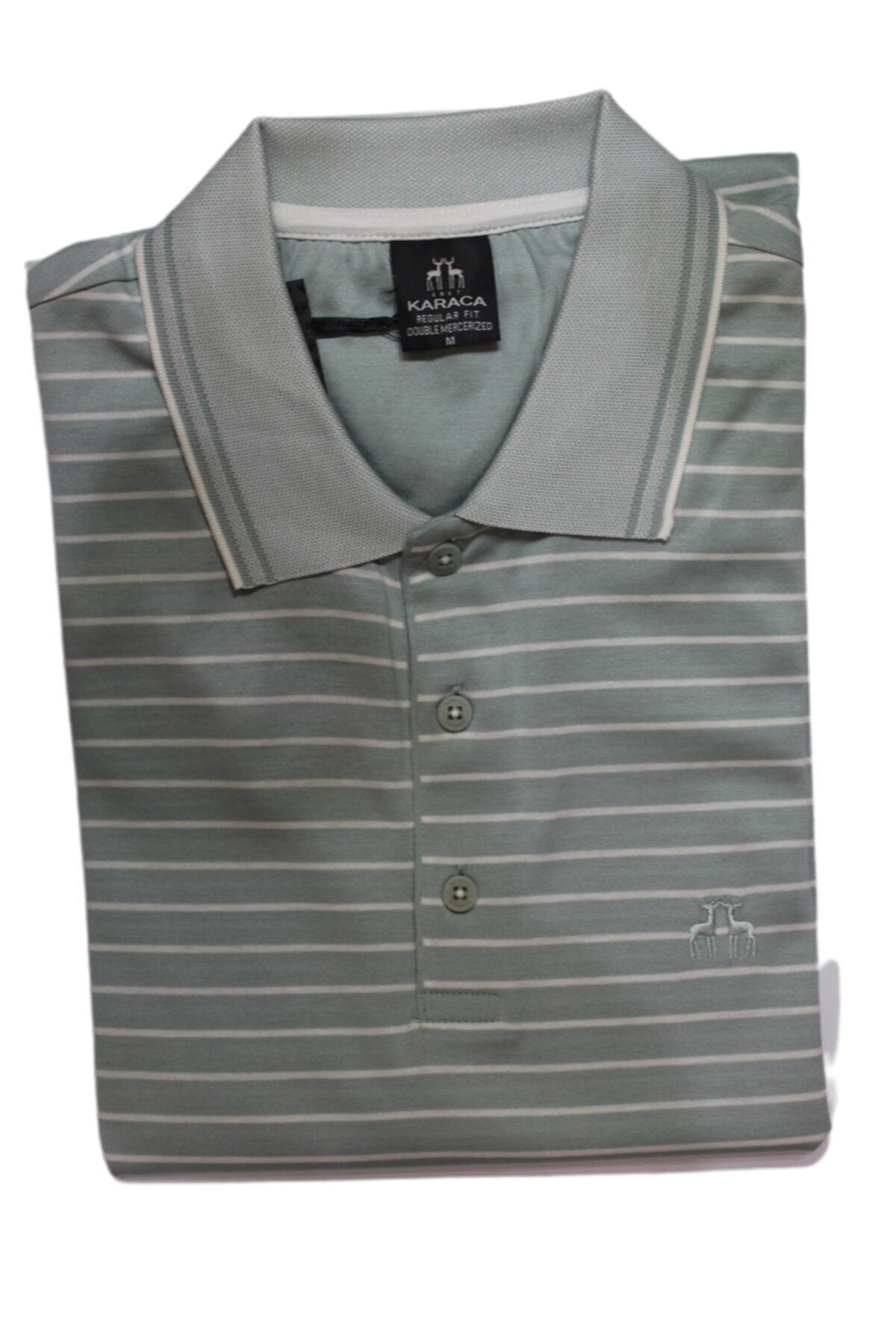 Karaca Erkek Çift Geyik Düğmeli Cepli Merserize Polo Yaka T-shirt 1