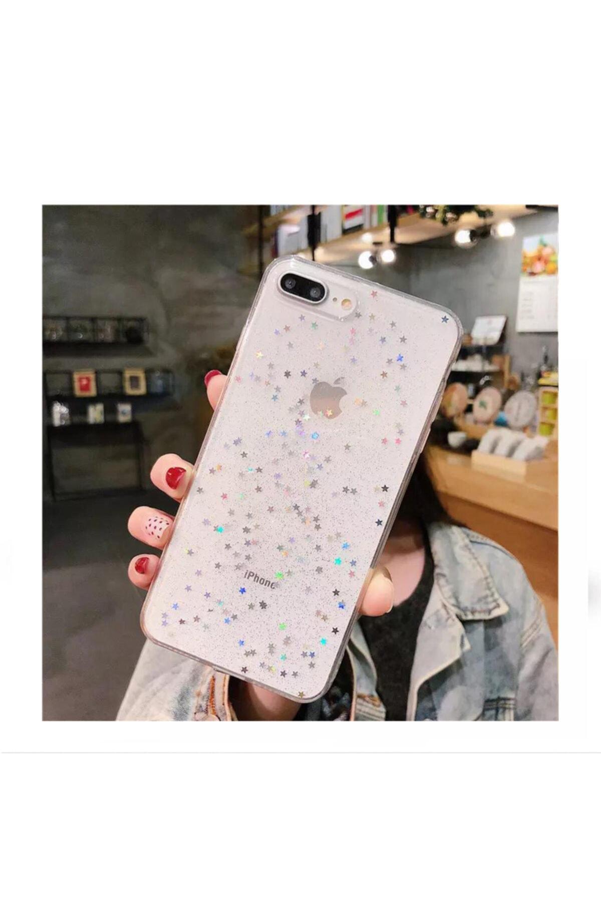 Kılıfsiparis Iphone 7 Plus 8 Plus Şeffaf Simli Silikon Telefon Kılıfı 1