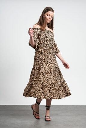 TENA MODA Kadın Leopar Kayık Yaka Elbise