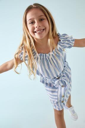 DeFacto Kız Çocuk Mavi Çizgi Desenli Bluz Ve Etek Takımı