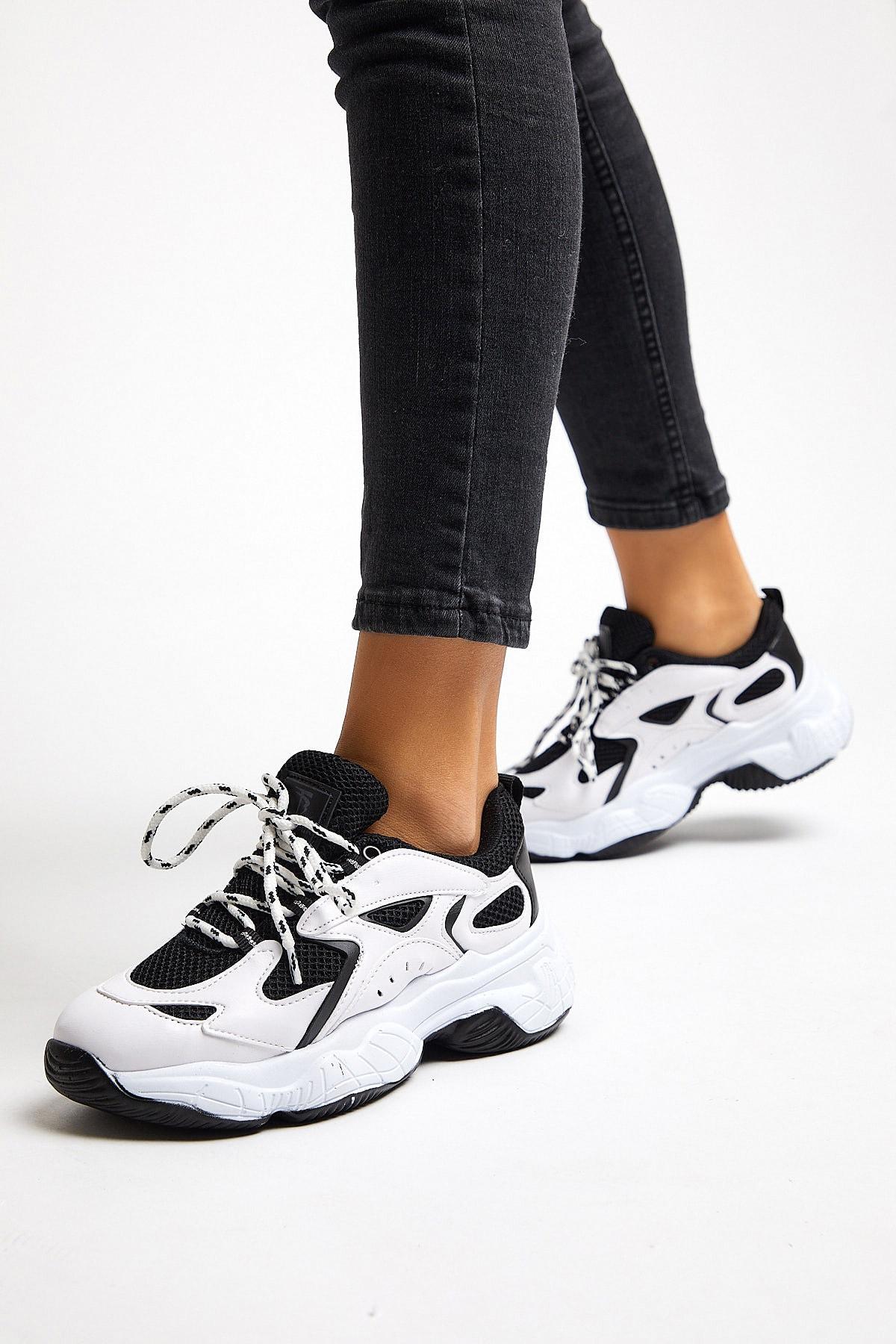 Tonny Black Bayan Spor Ayakkabı Siyah Beyaz Tb288 2