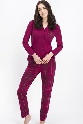 Arnetta Ekose Koyu Mürdüm Kadın Gömlek Pijama Takımı