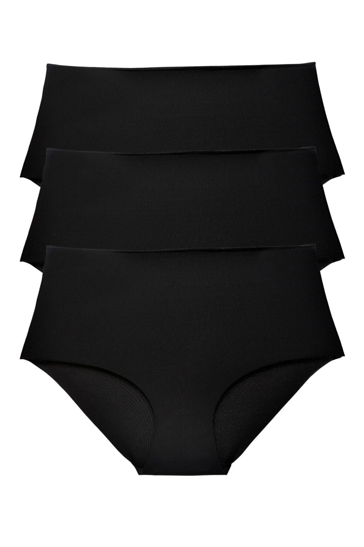 Sensu Kadın Siyah Yüksek Bel Lazer Kesim Külot 3 Lü Paket Set 1