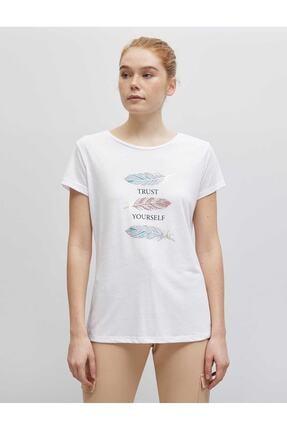 Koton Kadın Kirik Beyaz T-Shirt 21YY59000029