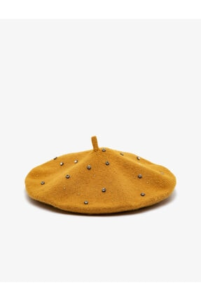 Koton Kadın Sarı Taş Detaylı Şapka