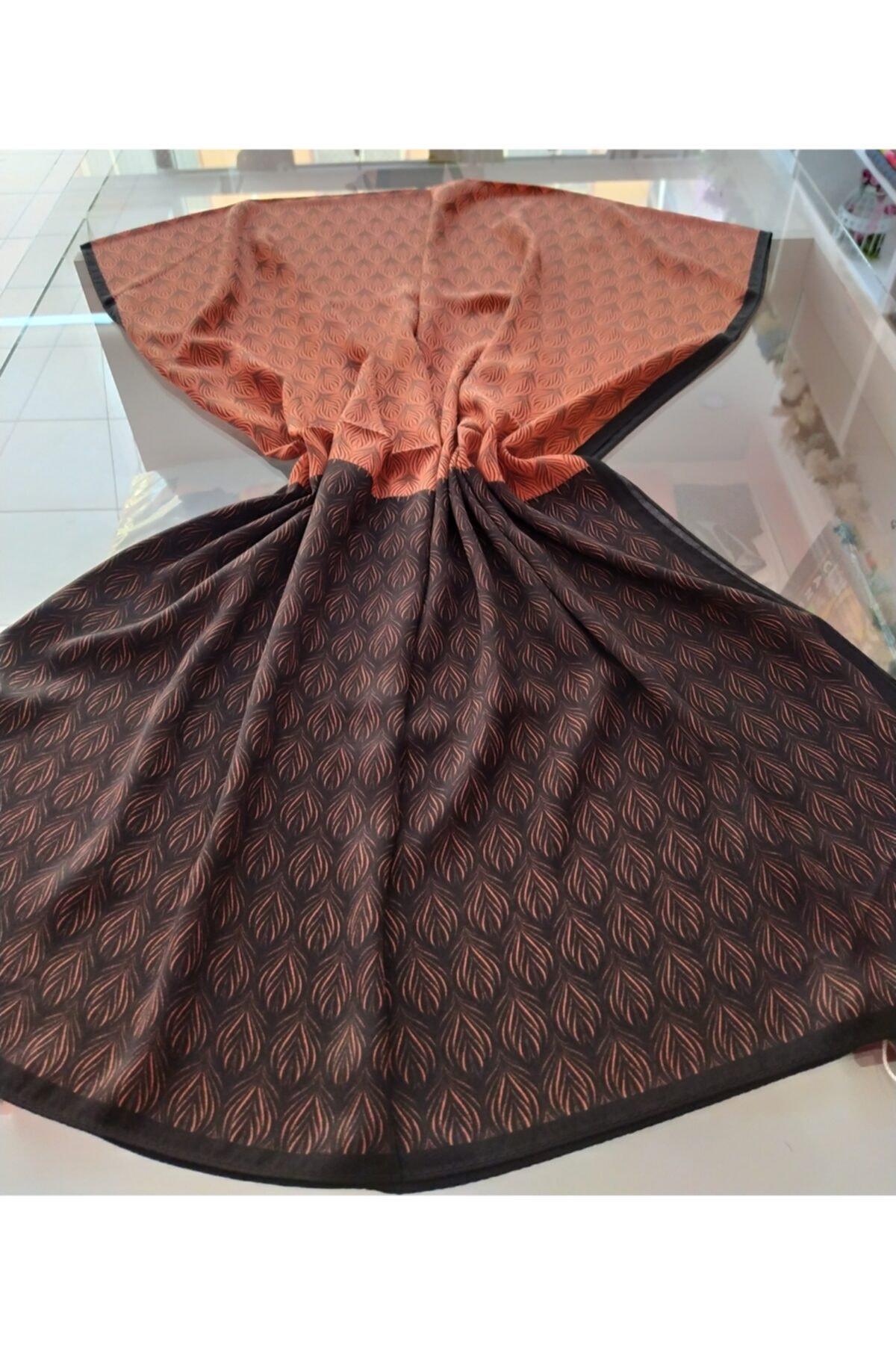 Arya organizasyon Turuncu Siyah Yaprak Desen Medine Ipeği Şal 1