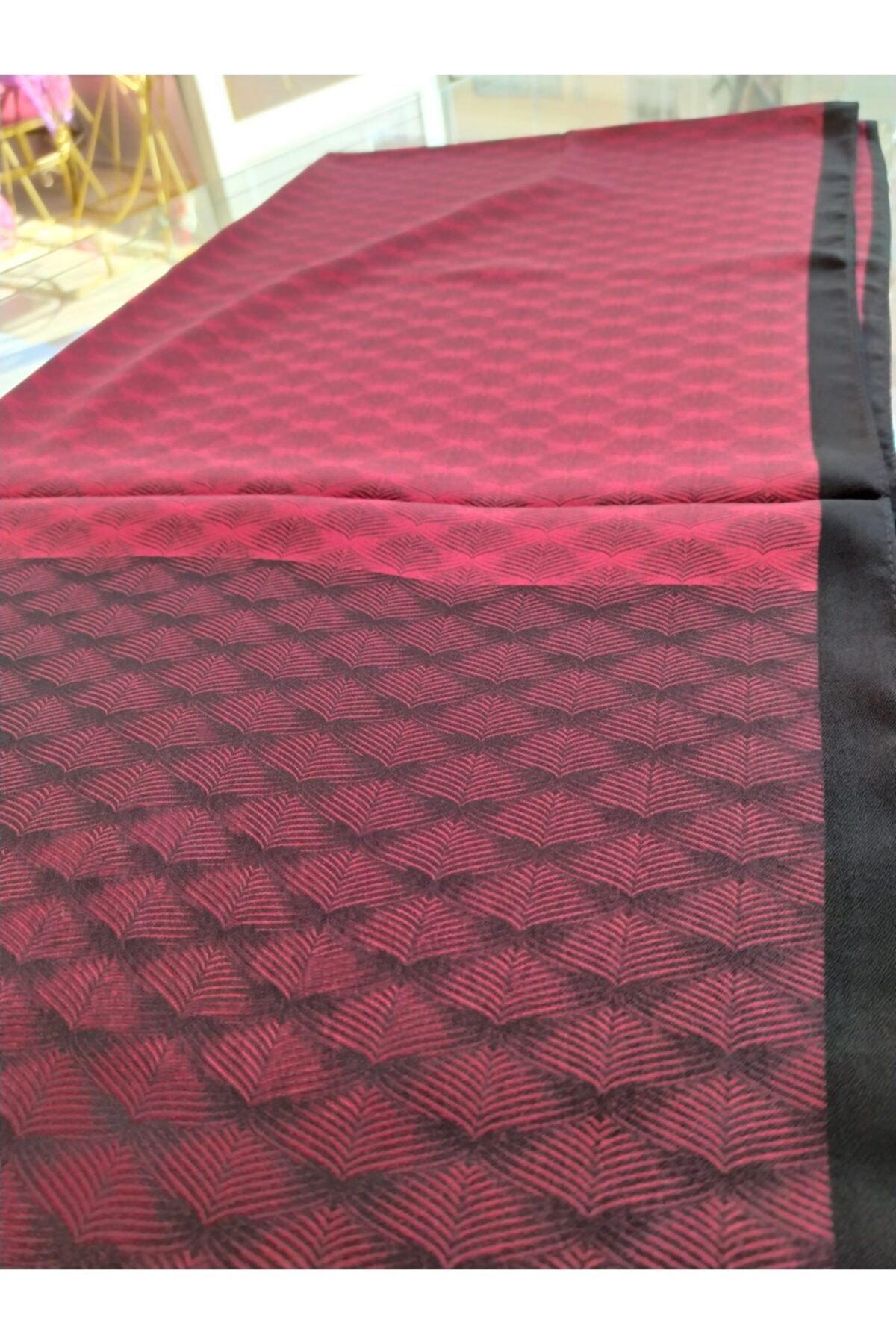 Arya organizasyon Turuncu Siyah Yaprak Desen Medine Ipeği Şal 2