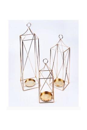 Home Decor Gold Renk Dekoratif Metal 3 Lü Fener Mumluk Rustik Ferforje Mumluk
